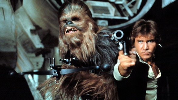 STAR WARS, (aka STAR WARS: EPISODE IV - A NEW HOPE), Chewbacca, Harrison Ford, 1977